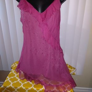 Le Chateau Size Large Silk Beaded Top